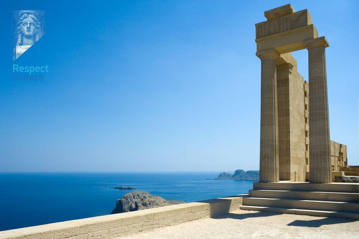 temple of athena lindia, acropolis lindos, rhodes island