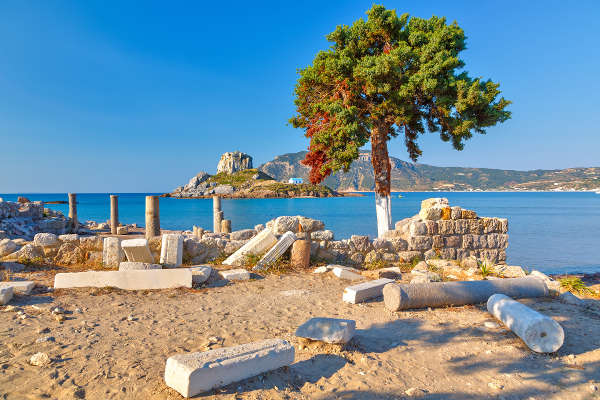 ancient ruins on kos island, greece