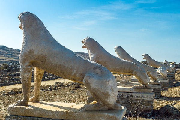 delos archaeological site, the marble naxian lions